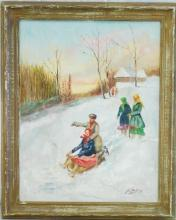 Jules Kanzler, Winter in Russia, Oil on Board