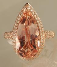 5.95ct Morganite and Diamond Ring in Rose Gold