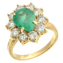 4.6 carat Emerald and Diamond Ring in Yellow Gold