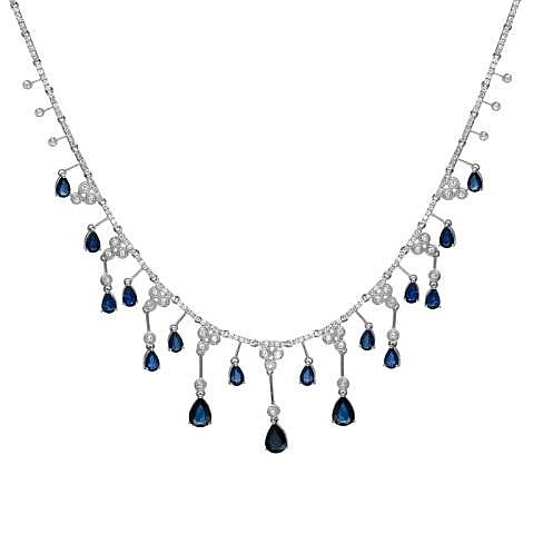 11.89ct Sapphire & Diamond Necklace