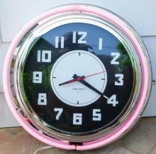 Vtg Lumichron Neon Clock  18