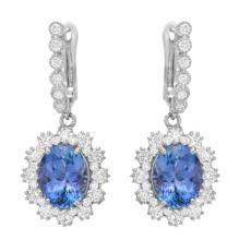 9.74 Carat Tanzanite and Diamond Earrings 14K Gold