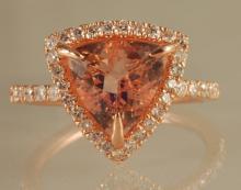 3.45ct Morganite and Diamond Ring in Rose Gold