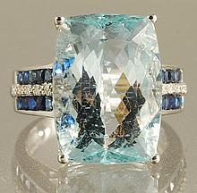 17.29ct  AQUAMARINE & DIAMOND RING