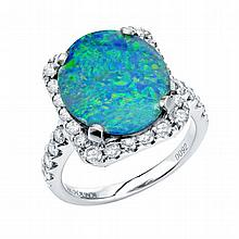 0.92 CT Diamond & 4.64 Opal Ring