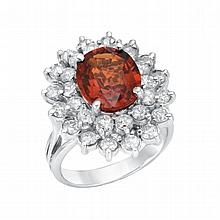 2.04ct Dia, 4.87ct Spesrte Ring 14K