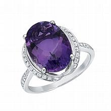 5.87CT Amethyst and  0.26 CT Diamond Ring