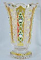 Czech Bohemian Crystal Enamel Vase 24K 10