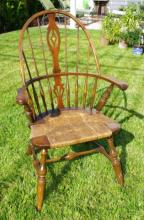 Antique Wooden Barrel Chair w/ Rush Seat