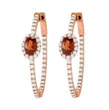 2.8ct Diamond & Garnet Hoop Earrings in Rose Gold