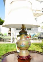 Large Bronze Enamel Cloisonne Lamp
