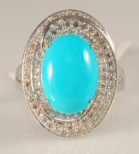 5.54 Carat Turquoise and Diamond Ring in 14K WG