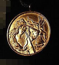 Itzchak Tarkay, Signed Gold  Pendant / Medallion