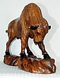 Hand Carved Wooden Buffalo 21