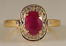 1.85ct Ruby and Diamond Ring in 14K Yellow Gold