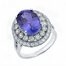 6.78 ctw Tanzanite & Diamond Ring