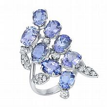 7.68 ct Tanzanite & 0.61 ct Diamond Ring