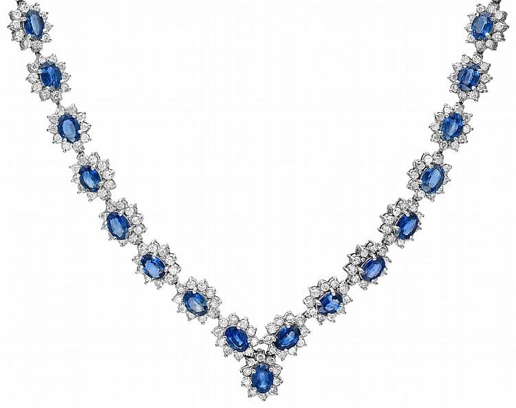 14K 11.93ct Diamonds & 32.40ct Sapphire Necklace