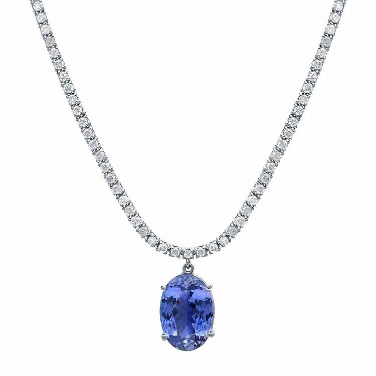Diamond and 7.16tcw. Tanzinite Necklace