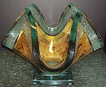 Olga P. Original 23Kt Gold and Crystal Vase, signe