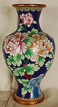 Vintage Blue Cloisonne Vase Floral Motif 12
