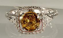 2.4 carat Yellow Sapphire and Diamond Ring 18K WG