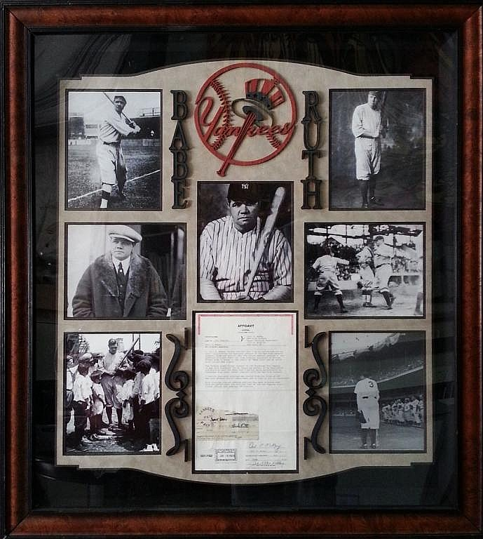 Babe Ruth Collage with payroll stub for $1500 advance dated 1927