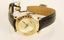 Erte Mens Gold, black leather Wrist watch Signed