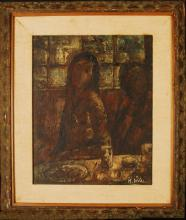 Original Painting by M.Duval, titled Lady at Table