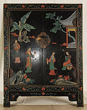 Antique Lacquered Chinese Chest / Cabinet