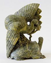 Hand Carved Jadeite Crane and Turtle 7 1/2