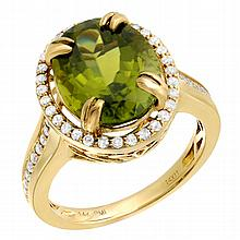6.24 Peridot and Diamond Ring set in 14K Gold