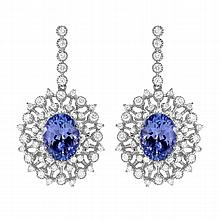 3.26 Carat Tanzanite and Diamond Earrings 14K