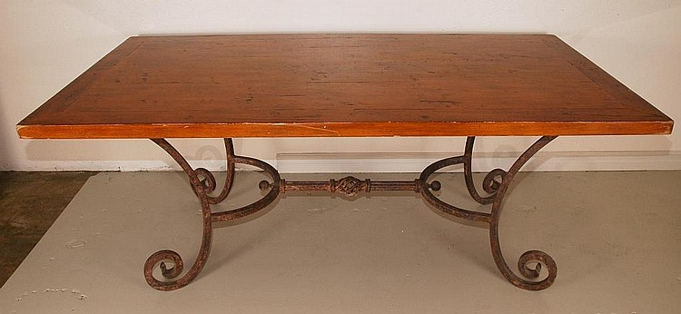 Hand-forged iron/wood Dining Table