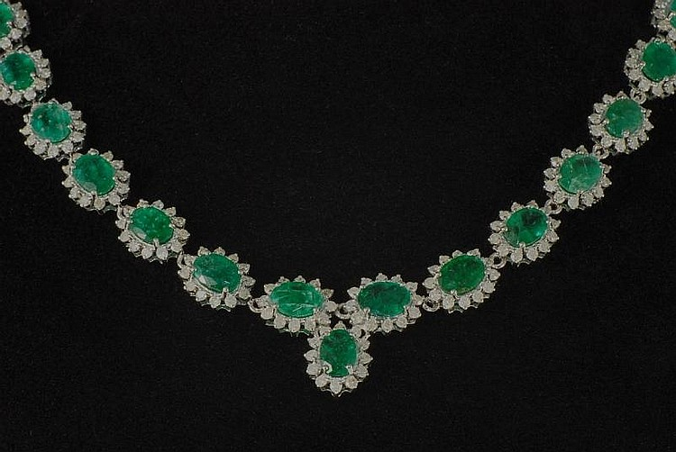 35.57ct Emerald and Diamond Necklace