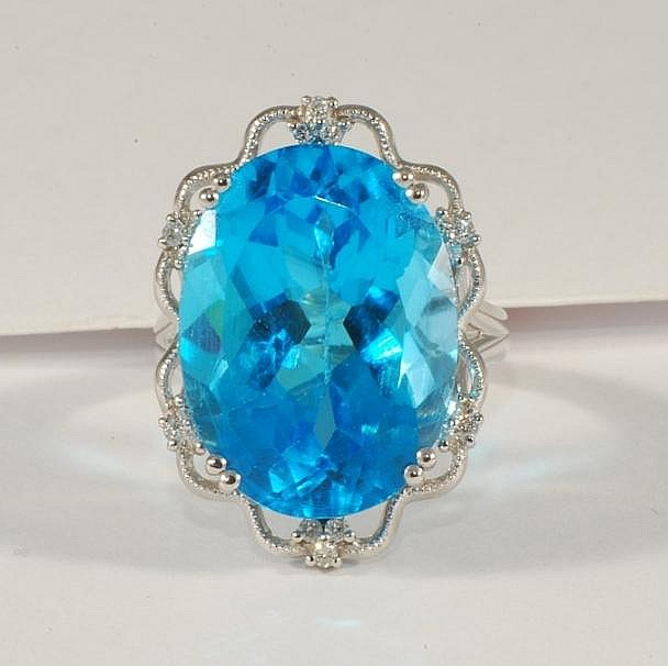 24.87ct Blue Totaz & 0.19ct Diamond Ring in White Gold