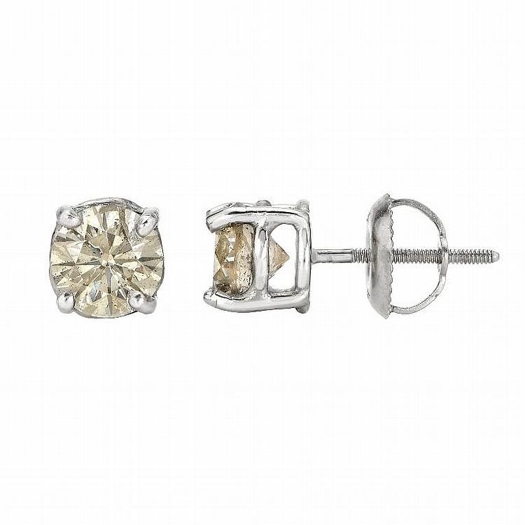 14K White Gold, 1.70ct Diamonds Stud earrings