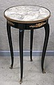 Black lacquered end table with round marble top