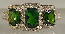 3.47 CT Chrome Diopside & Diamond Ring
