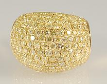 4.25 ct  Fancy Yellow Natural Daimond Ring 18K YG