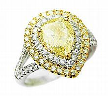 2.76 ct Fancy Yellow Diamond Ring set in 18K Gold