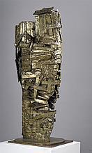 CÉSAR (1921-1998) Le château magique, 1961 Sculpture en bronze soudé à patine mordorée, fonte à la cire perdue de Landowski en 1982.Signé 'César' sur la terrasse .Justificatif de tirage EA2 Hauteur : 98 cm - Longueur : 36 cm - Profondeur : 32