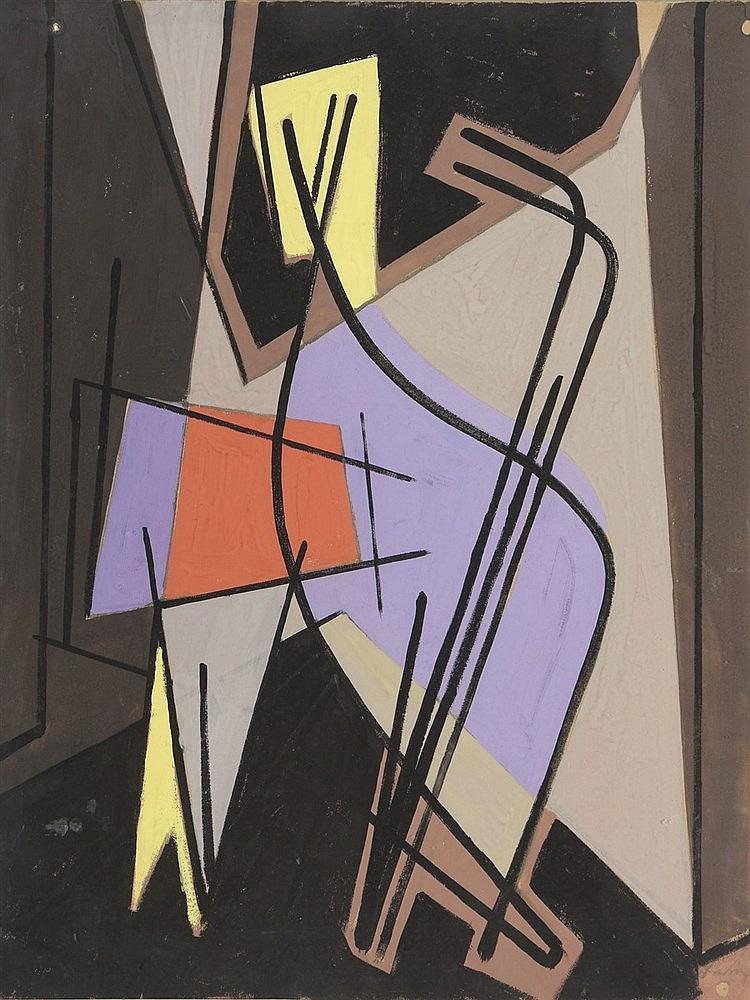 Henri DAVRING (1894-1970)  Composition, circa 1950  Gouache sur papier, signée en bas à droite   65 x 50 cm