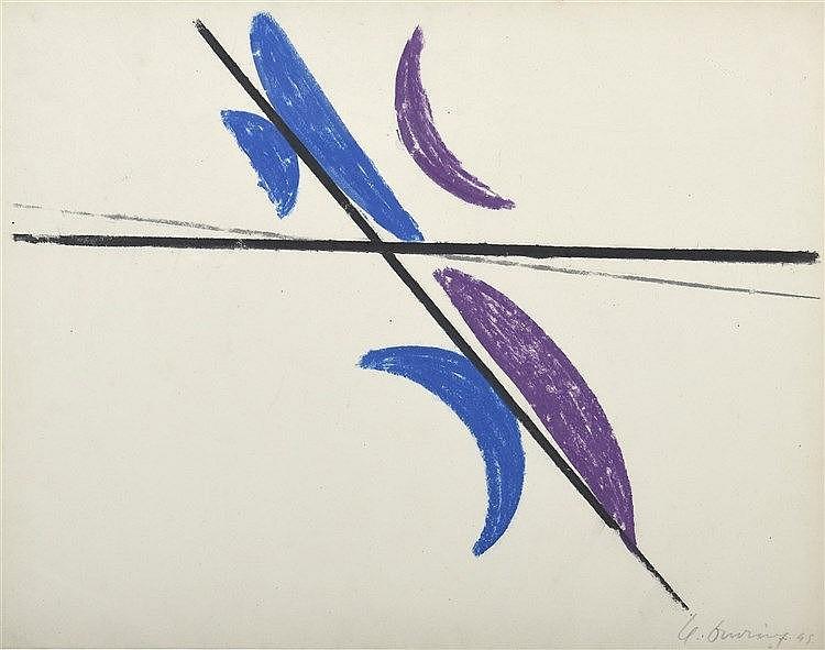 Henri DAVRING (1894-1970)  Composition, 1945  Pastel signé et daté en bas à droite   50 x 65 cm à vue