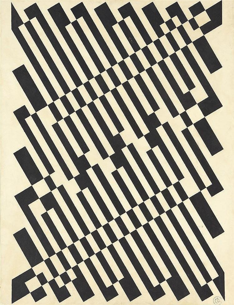 Georges CONNAN (1912-1987)  Diagonales chromatiques  Technique mixte sur papier marouflé sur toile, signé en bas à droite  114 x 88 cm  (tâches et traces de plis)
