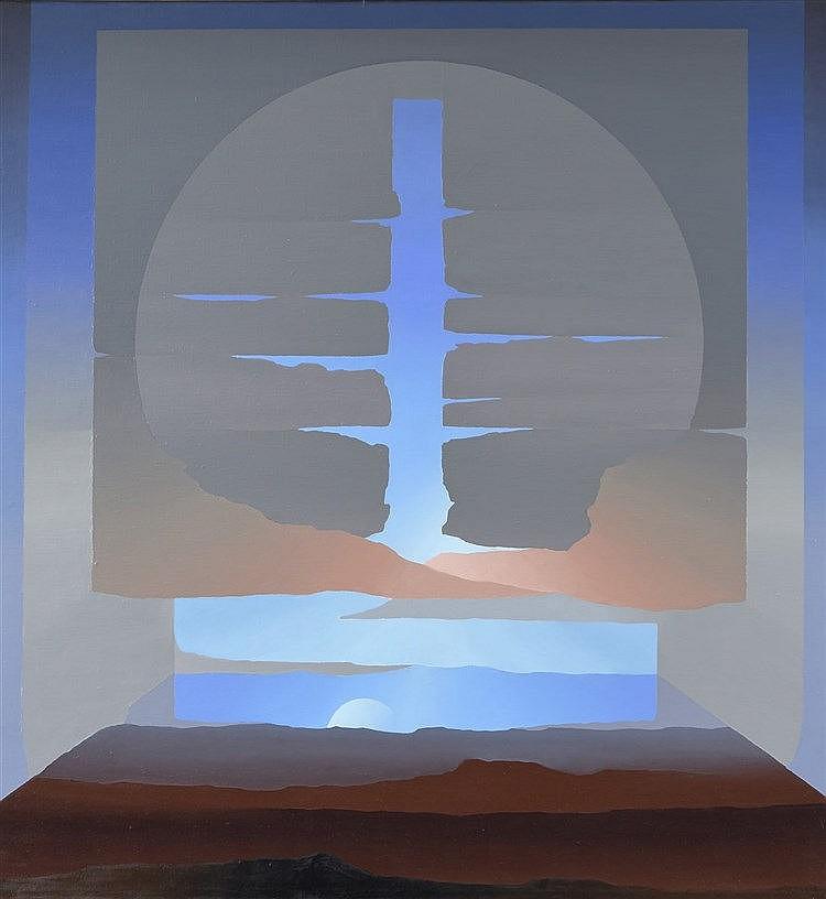Robinson MORA MONTECINO (Né en 1947), école chilienne  Antena TR, 1993-98  Huile sur toile, contresignée, titrée et datée au dos  120 x 112 cm