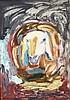Menashé KADISHMAN (Né en 1932), école israëlienne  Tête de mouton  Huile sur papier marouflée sur toile, titré au dos  100 x 70 cm  Provenance: Galerie Delta, Rotterdam, Menashe Kadishman, €800