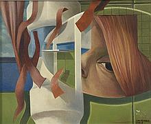 CYR FRIMOUT (Né en 1938) Visage surréaliste Huile sur toile, signée en bas à droite et numérotée 3753 22,5 x 28,5 cm