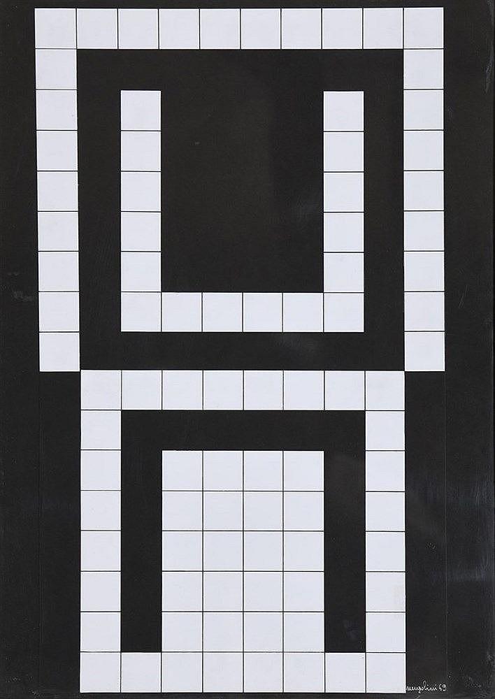Aldo MENGOLINI(Né en 1930)  Composition, 1969  Collage sur papier, signé et daté en bas à droite  68,5 x 48 cm