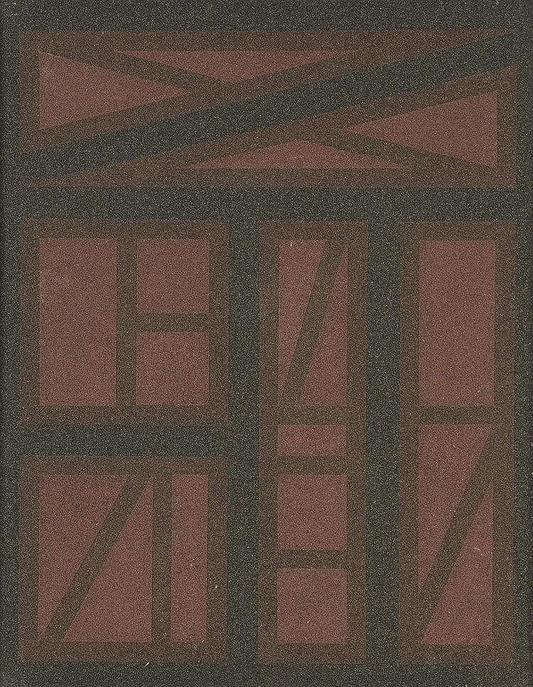 Aldo MENGOLINI(Né en 1930)  Scompesta opera I, 1960  Acrylique et sable sur panneau, signé, titré et daté au dos  100 x 80 cm
